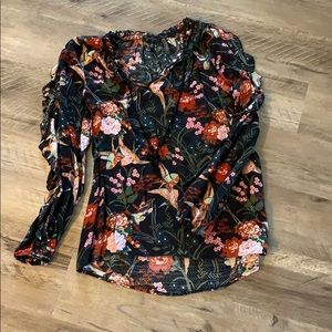 Winter Floral Ruffle Blouse